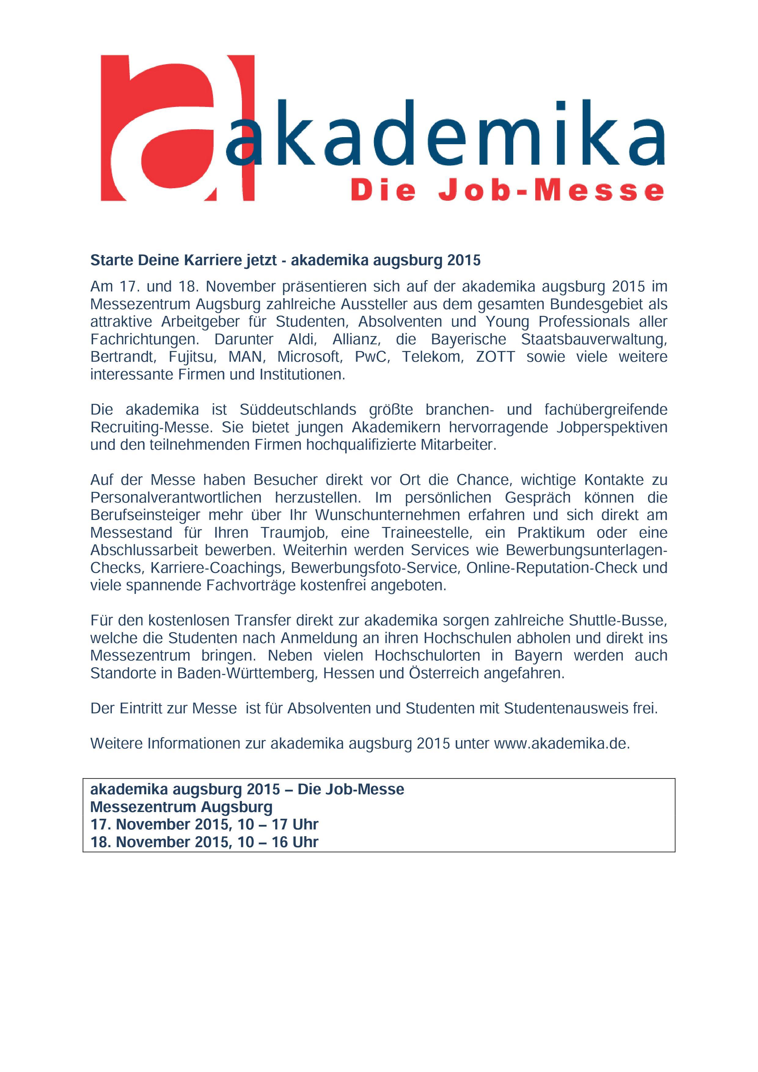 Messe Augsburg Info
